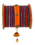 Designer Orange And Purple Colour Bangles Set For Women.