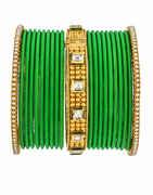 Green Colour Fancy Matching Bangles Set For Women Online.
