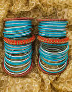 Sky Blue And Silver Colour With Red Colour Kada Matching bangle Set.