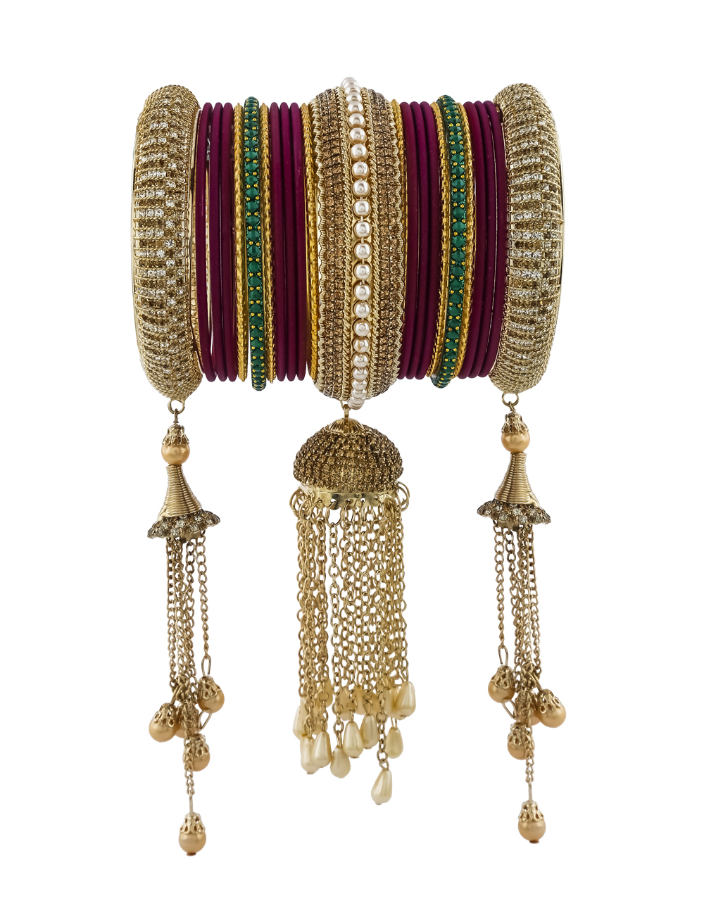 Very Classy Burgundy Colour Matching Bangles Set For Women.