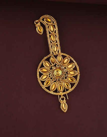 Designer Golden Stones Feta Brooch For Groom Online