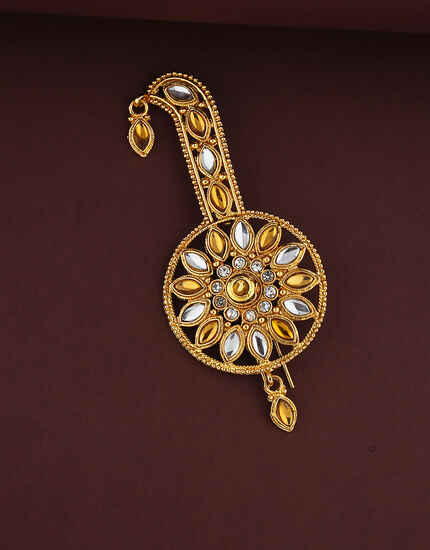 Dazzling Silver and Golden Stones Studded Kalangi Brooch For Men.