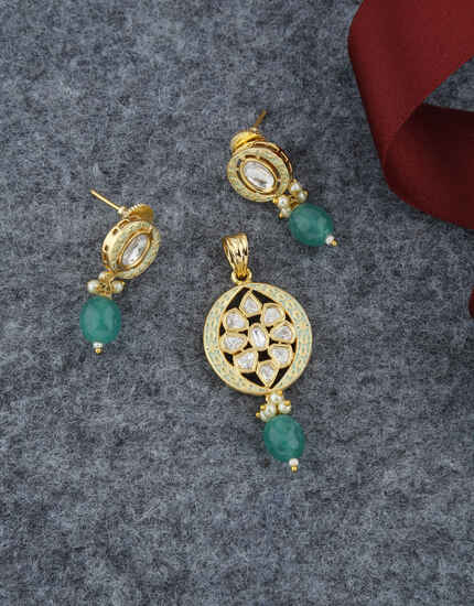 Green Colour Mint Mina Work Kundan Pendant Set For Women.