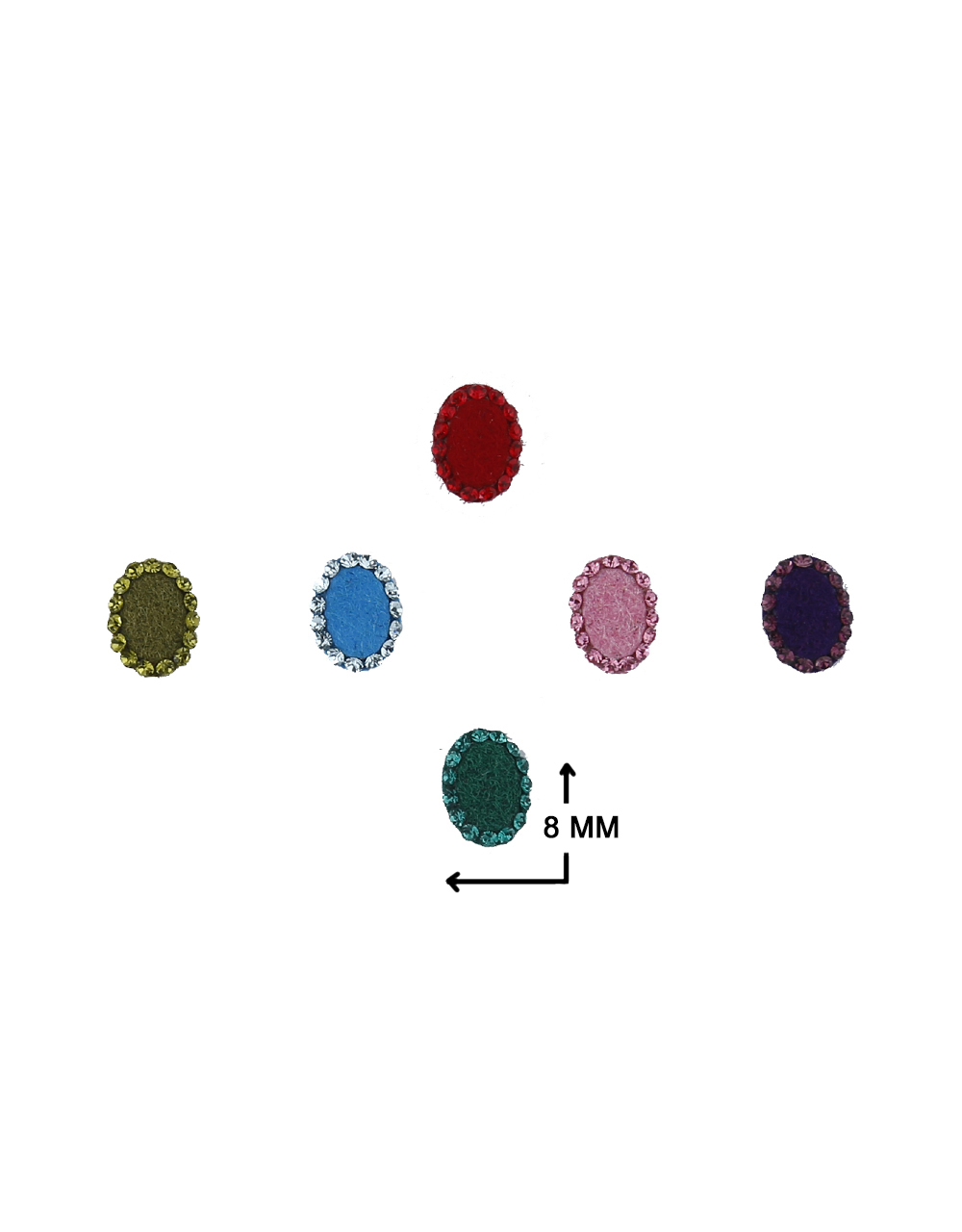 Exclusive Multi-Colour Oval Shape Stone Studded Bindi Online