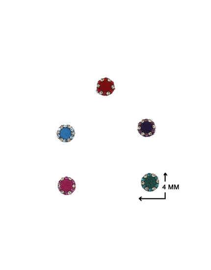 Fancy Multi-Colour Round Shape Stone Studded Bindi For Women