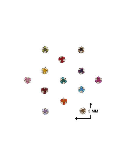 Delicate Multi-Colour Round Shape Embedded With Stone Bindi For Women