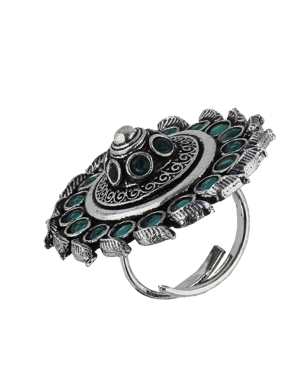 Very Classy Silver Finish Leaf Designed Green Colour Oxidized Finger Ring Design.