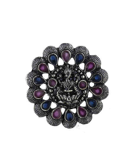 Multi-Colour Temple Designed Silver Finish Oxidized Finger Ring For Women/Girls.