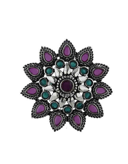 Splendid Green and Pink Colour Silver Finish Oxidized Finger Ring Online.