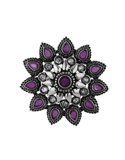 Adorable Pink Colour Silver Finish Floral Designed Oxidized Finger Ring For Women.