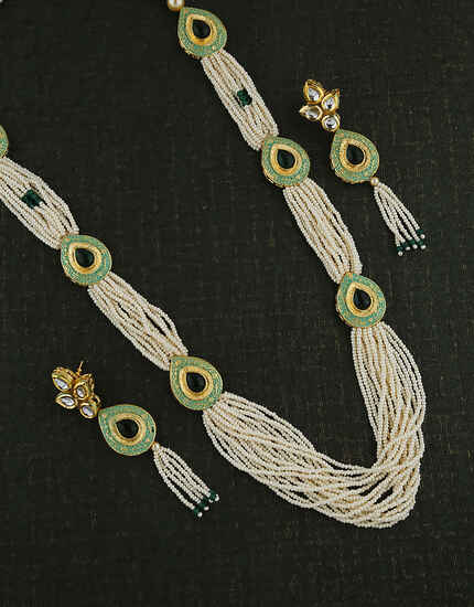 Stunning Mina Work With Moti Mala Traditional Long Necklace Design