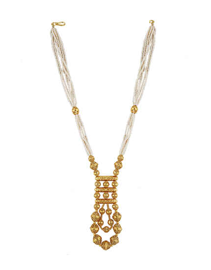 Unique Golden Finish With Moti Mala Traditional Necklace For Women Online