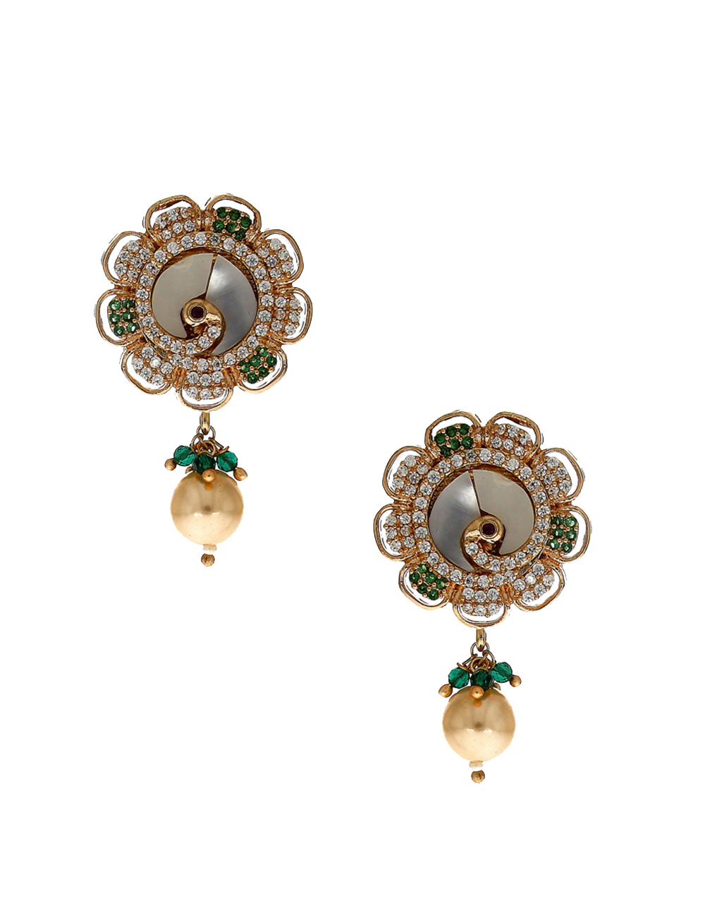 Floral design studded with green diamond pendant set for women
