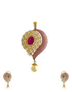 Beautiful Design Studded With Pink Stone Pendant Set for Women