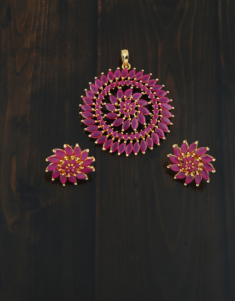 Classy Design Studded With Pink Stone Pendant Set for women