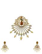 Peacock Inspired Golden Finish Diamond Studded American Diamond Pendant Set.