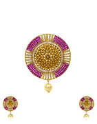 Pink Colour Diamond Studded Adorable American Diamond Pendant Set Design.