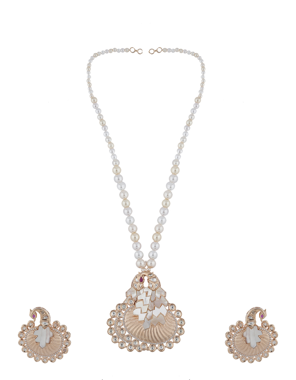 Dazzling Rose Gold Finish American Diamond Pendant Set For Women.