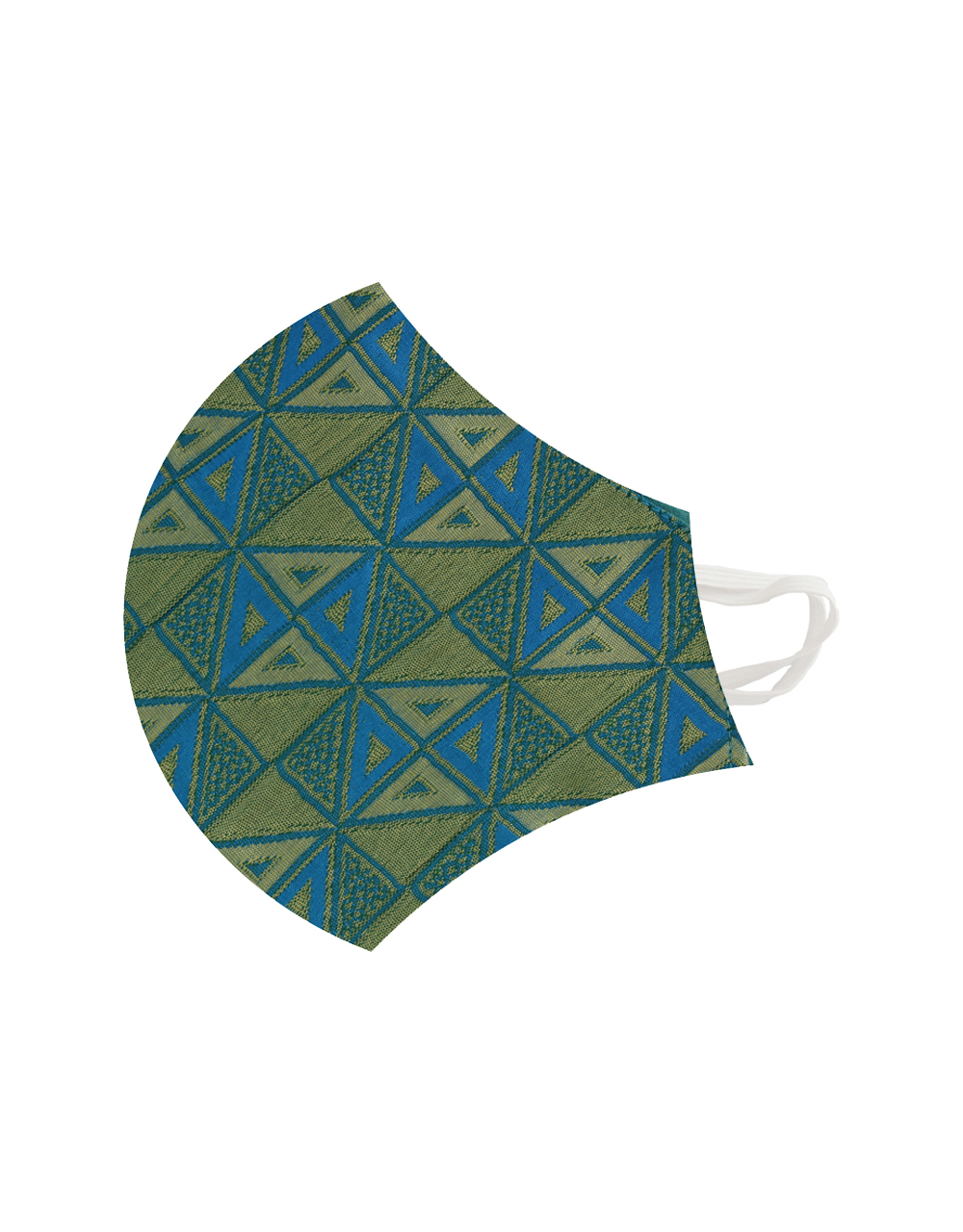 Golden And Blue Colour Tringle Designed Brocatelle Fabric Face Mask.