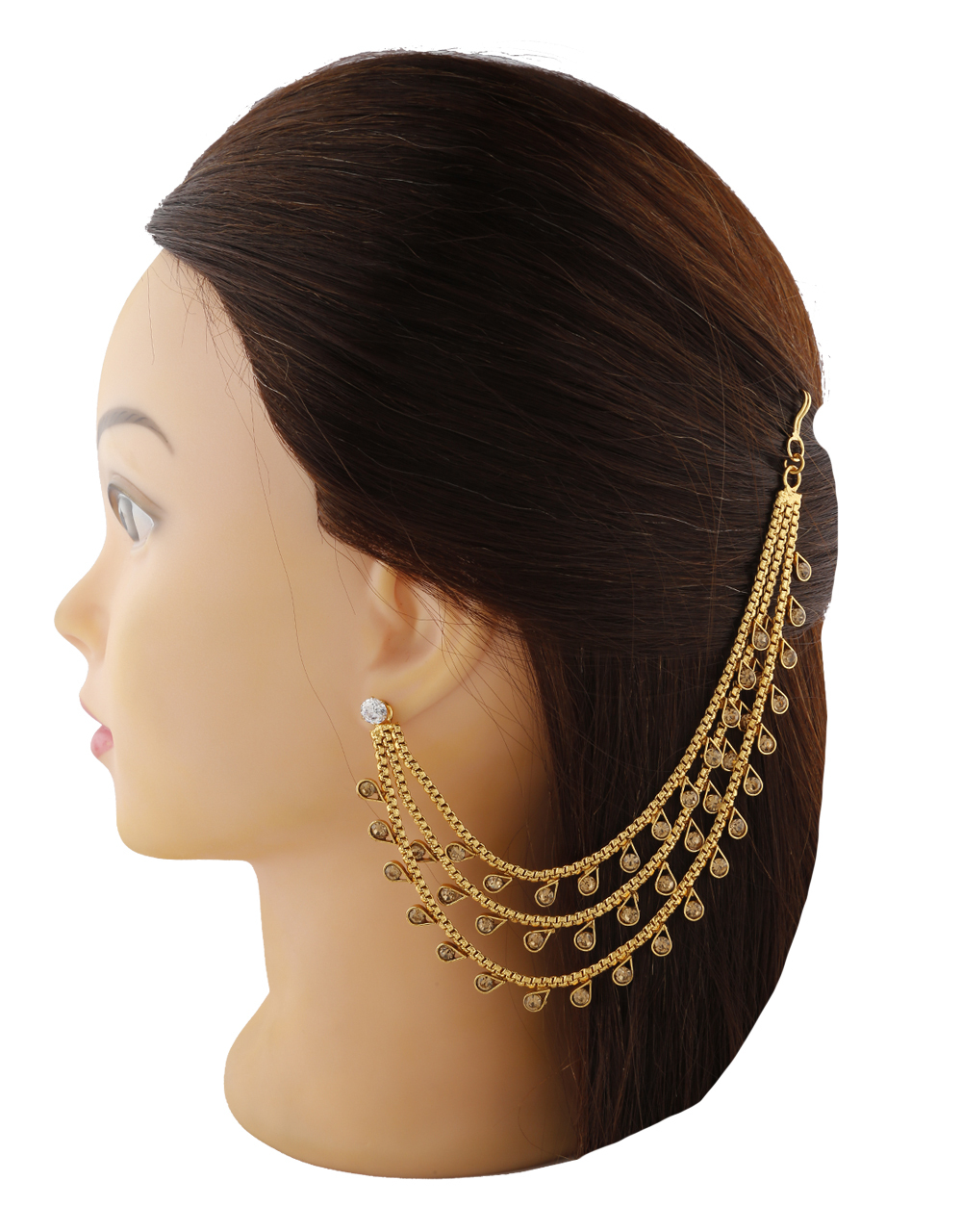 Adorable Golden Finish With Golden Colour Stone Studded Kanchain For Bridal.