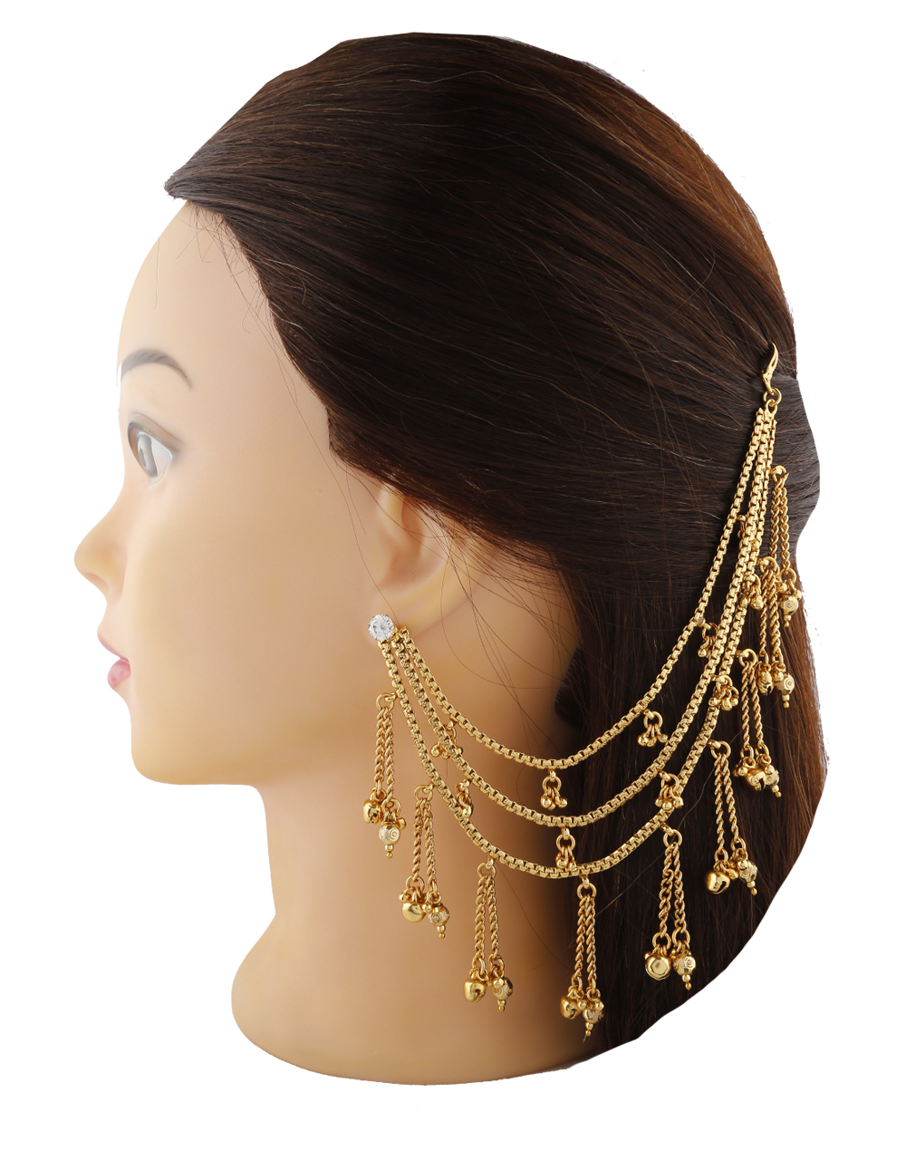 Fashionable Golden Finish With Golden Droplet Kanchain For Bride.