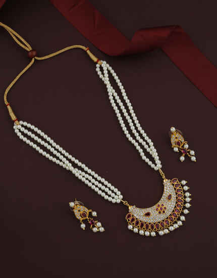 Adorable Pink Colour Golden Finish Rani Haar For Women.