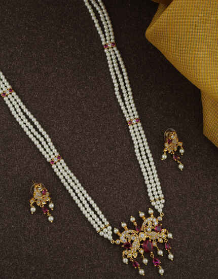 Fancy Golden Finish Pink Colour With Moti Mala Rani Haar.