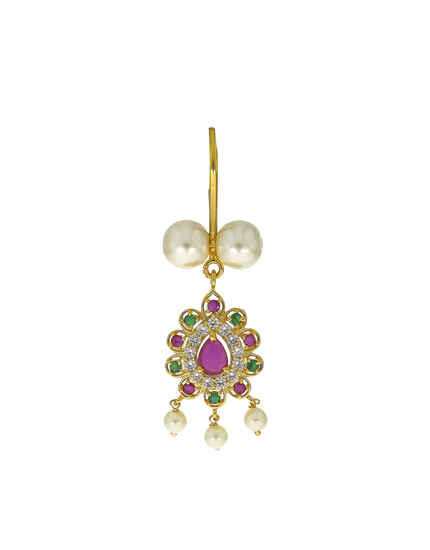 Dazzling Multi-colour Stone Studded Golden Finish Ganpati Bigbali