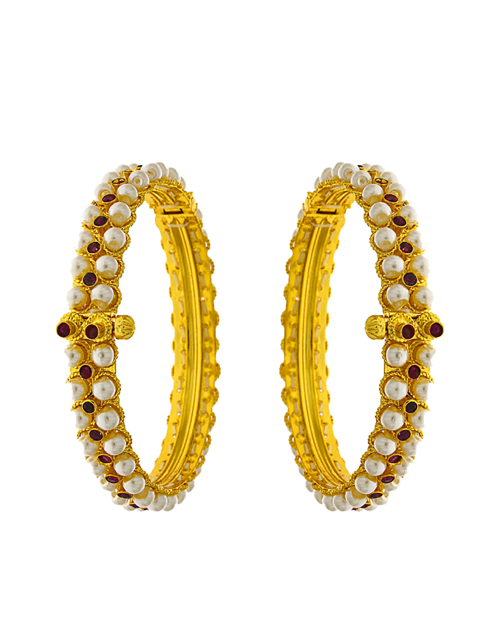 Adorable Golden Finish Pearl and Stone Studded Traditional Bangles.