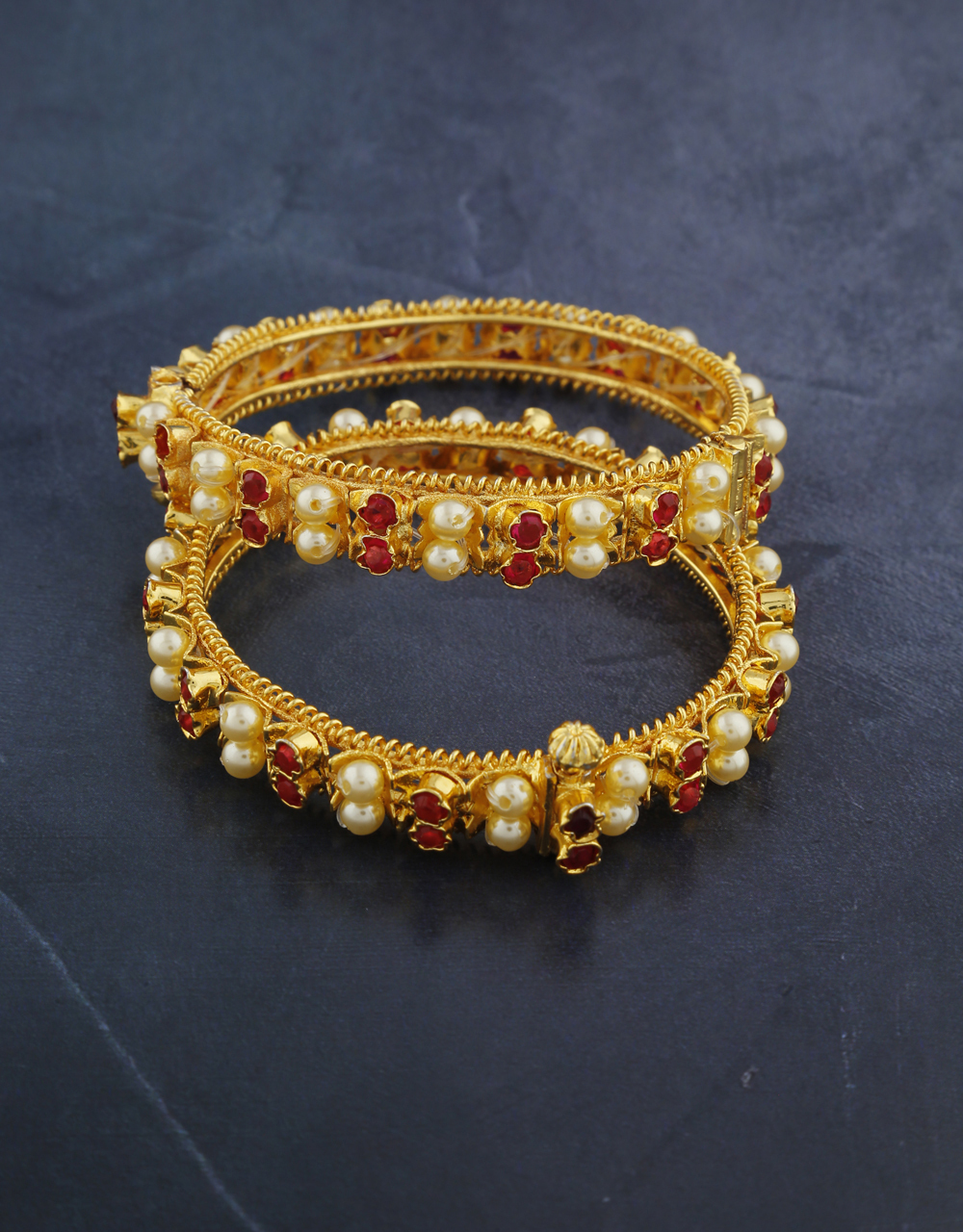Amazing Rani Colour Stone Studded Golden Finish Traditional Bangles For Women.