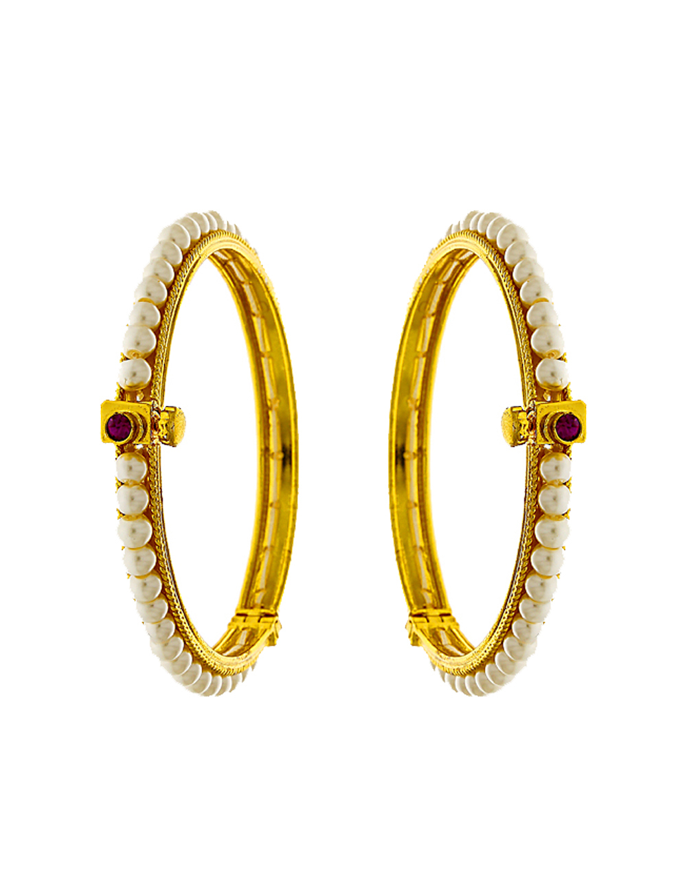 Delicate Embedded With Pearls Golden Finish Traditional Bangles Design Online.