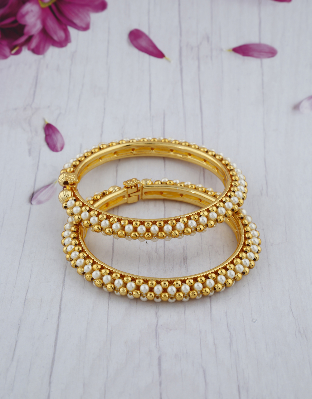 Exclusive Golden Colour Beads And Pearl Studded Traditional Bangles Design.