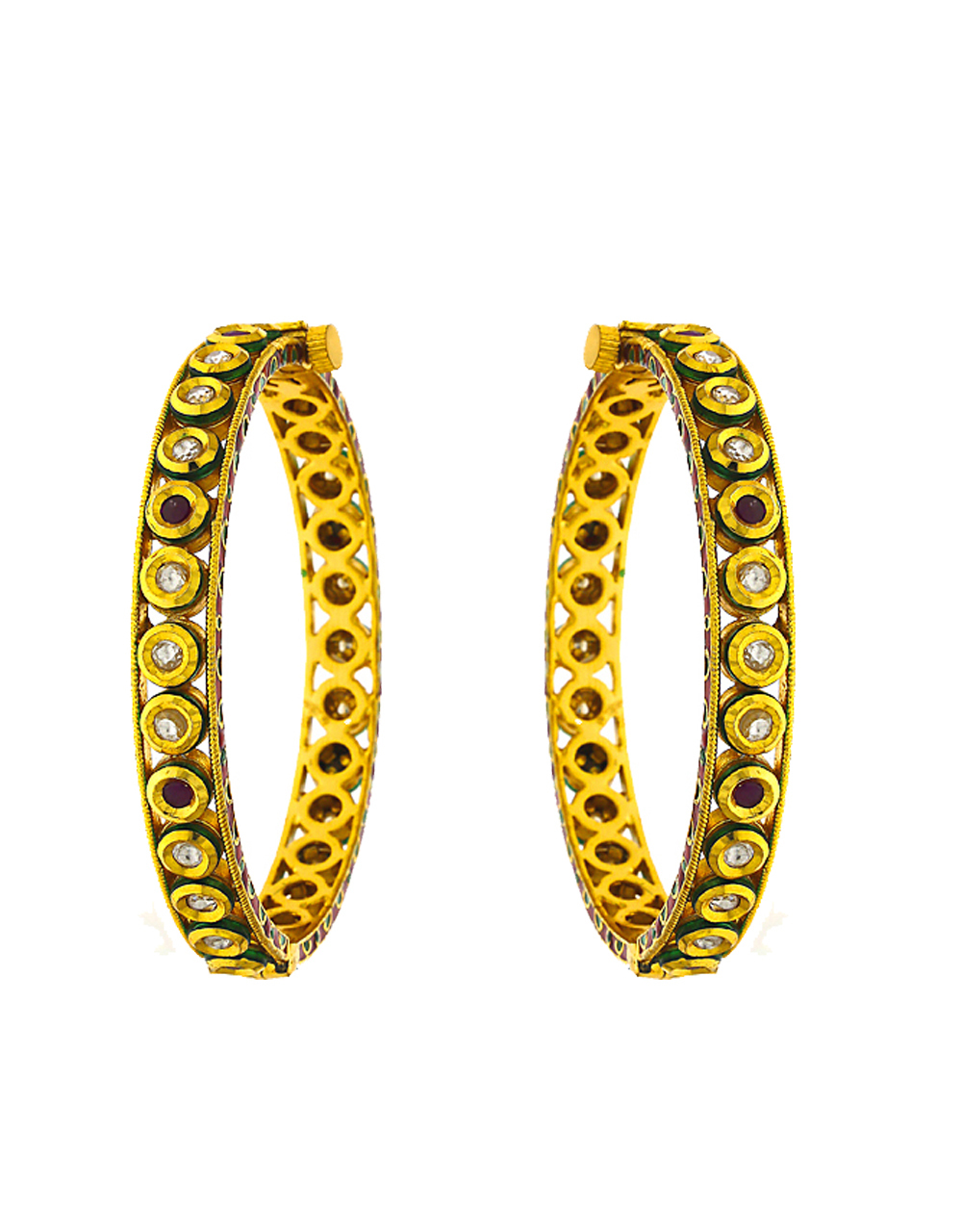 Stunning Golden and Red Colour Golden Finish Traditional Bangles For Women.