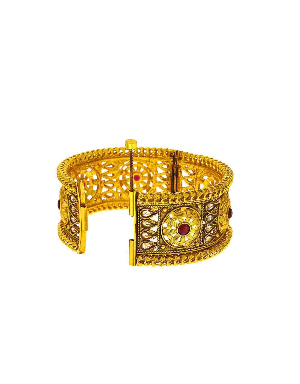 Very Classy Maroon Colour Golden Finish Stone Studded Traditional Bangles.