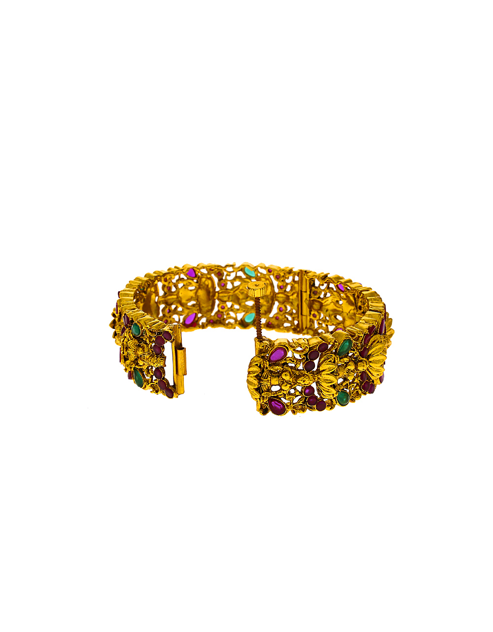 Temple Designed Golden Finish Multi-Colour Traditional Bangles for Women.