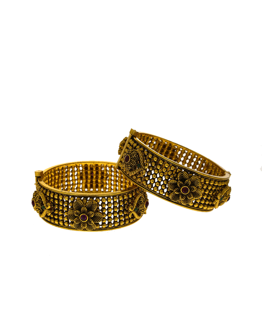Floral Designed Multi-colour stone studded golden finish Traditional Bangles.