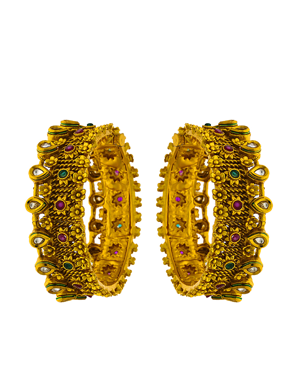 Fashionable Floral Designed Multi-colour stone studded Traditional Bangles for Women.