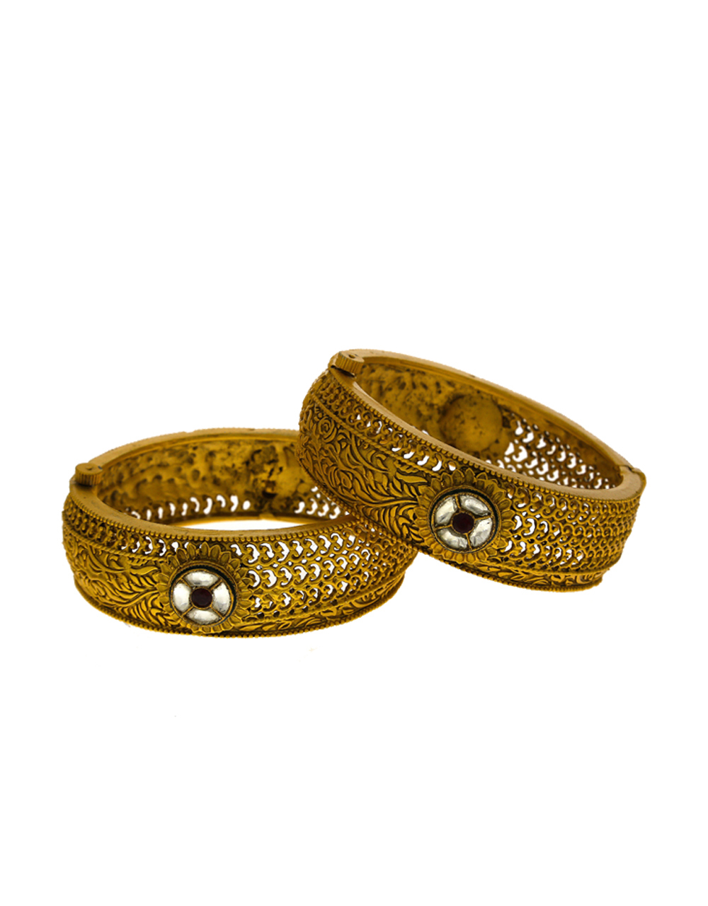 Adorable Matte Gold Finish Maroon Colour Traditional Kada Bangles.