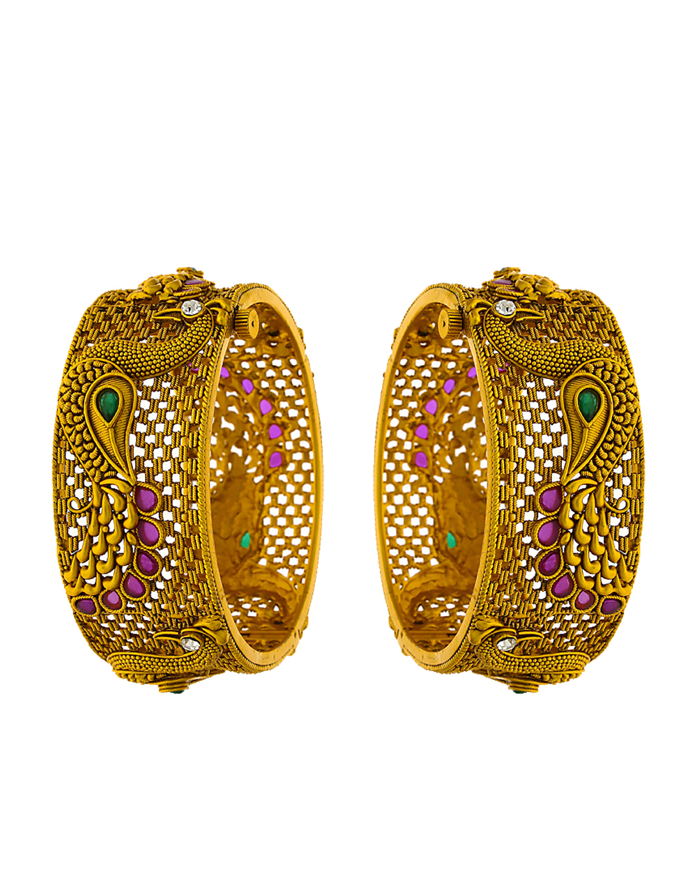Peacock design studded with pink stone traditional bangles for women