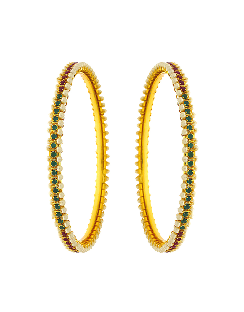 Adorable design decorated with pearl bangles for women