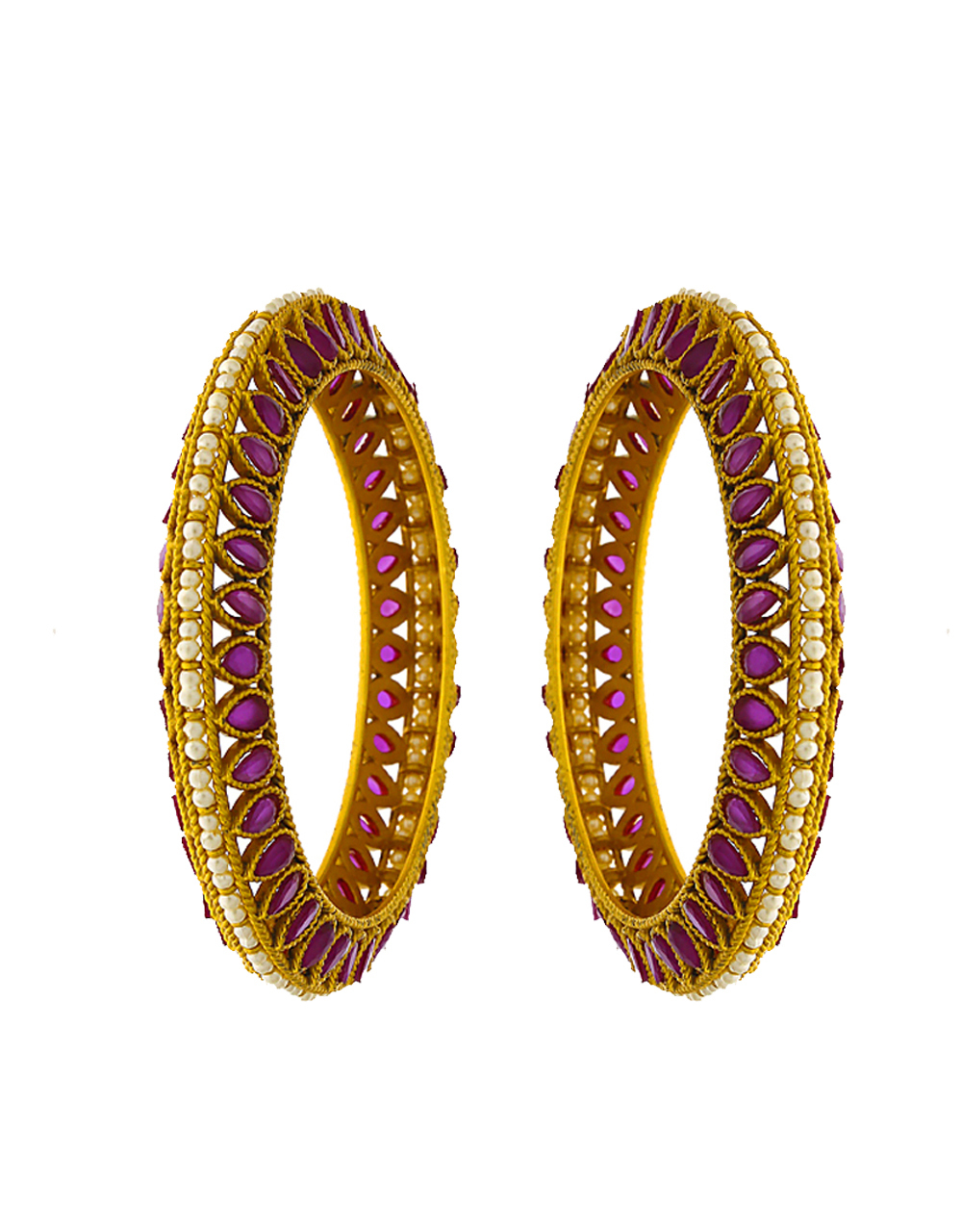 Royal gold finished studded with pink colour stones bangles for women
