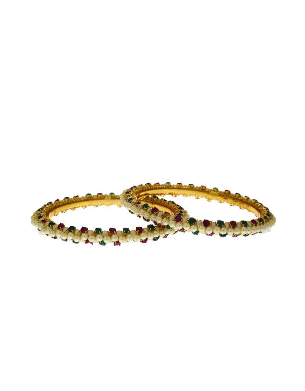Classy designer decorated with pearl bangles for women