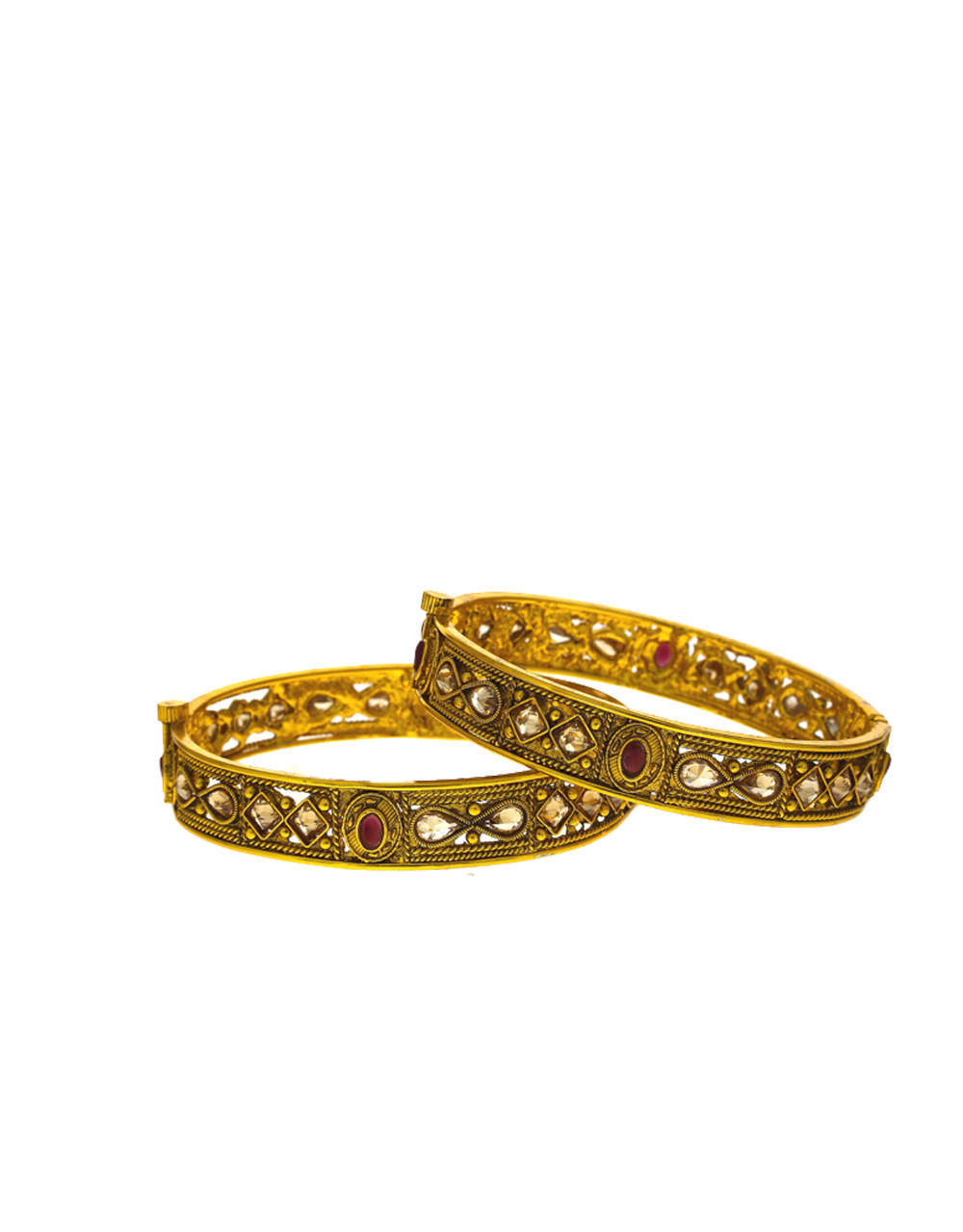 Matte gold designer studded with red stone bangles for women