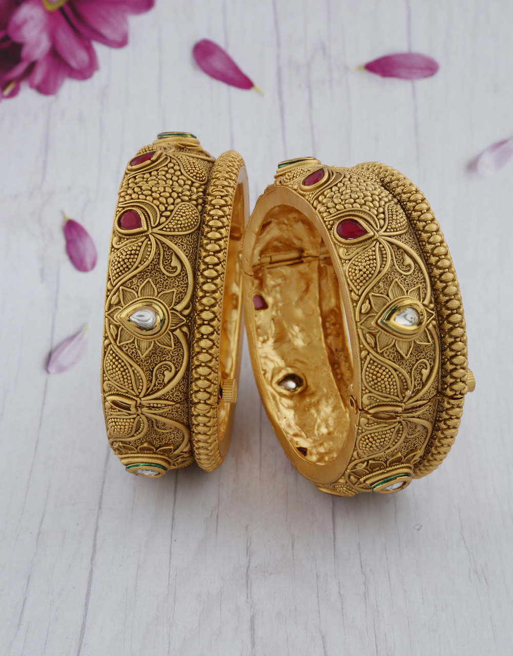 Adorable designer studded with pink stone bangles for women
