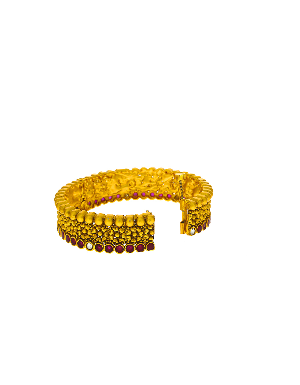 Floral design studded with pink colour stone bangles for women