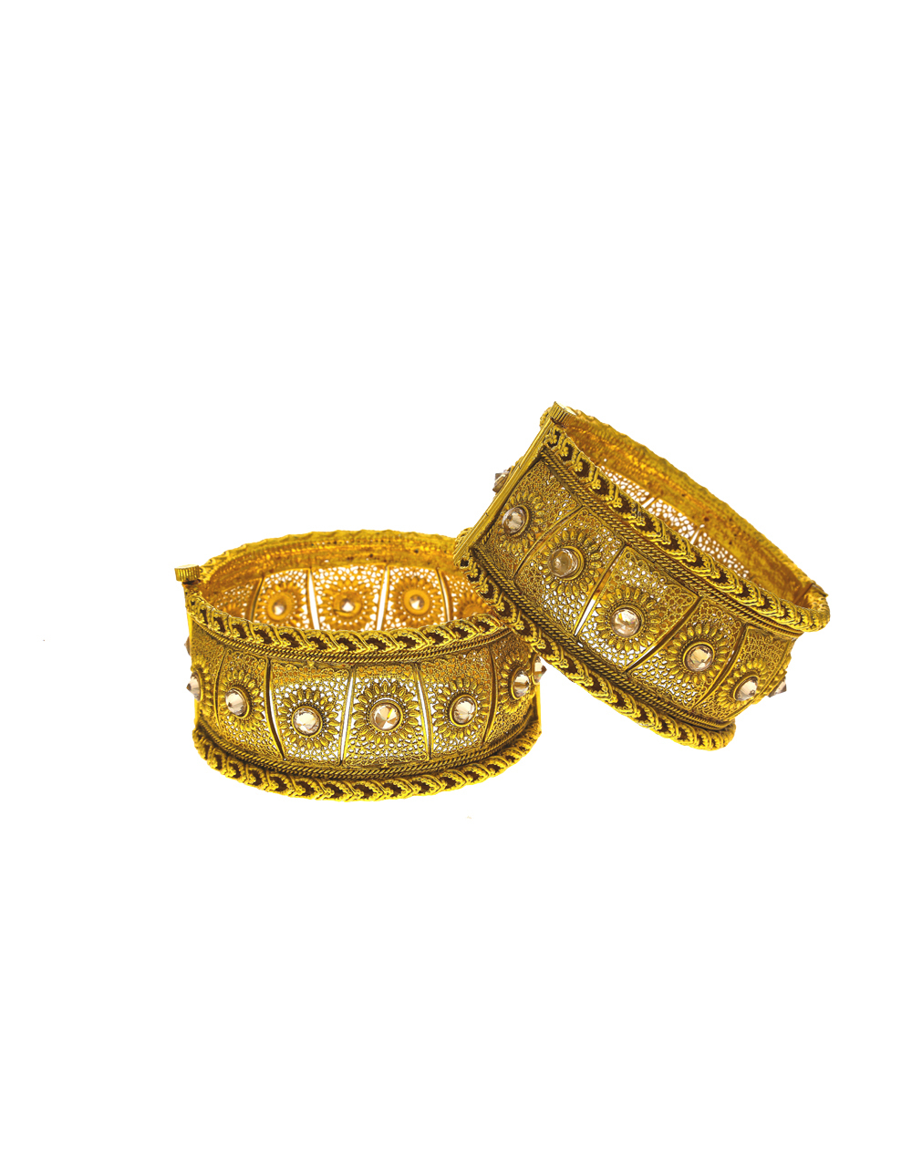 Floral designer decked with LCT stone in centre of design bangles for women.
