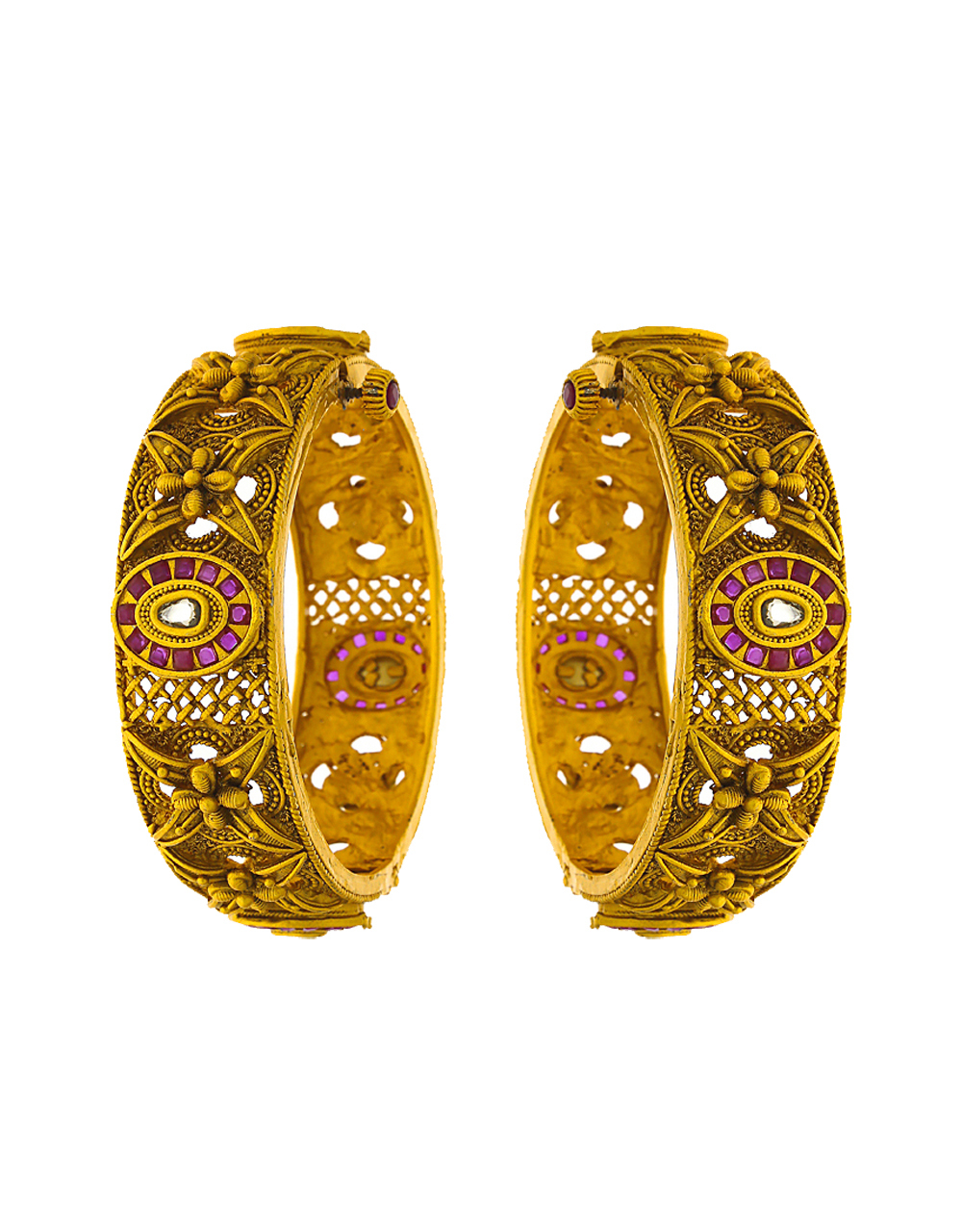 Round shape designer bangles studded with colourful stones for women