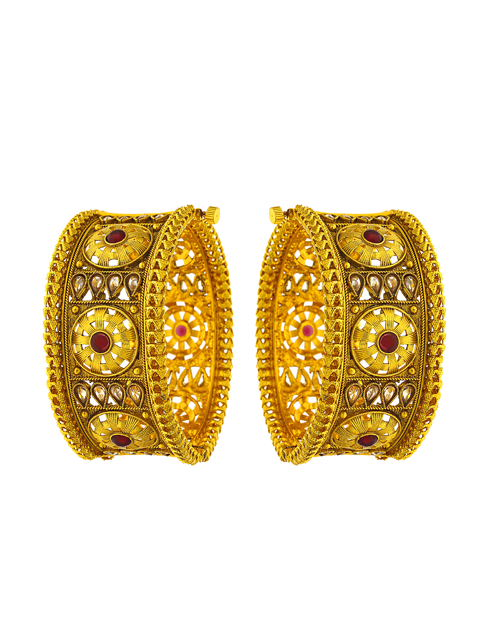 Round shape gold finish studded with red stone in centre bangles for women