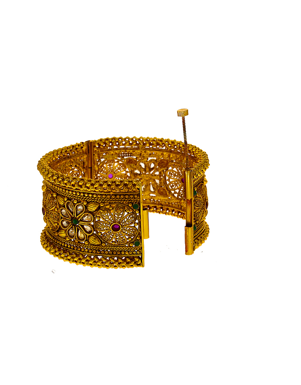 Floral design studded with multi-colour stone bangles for women