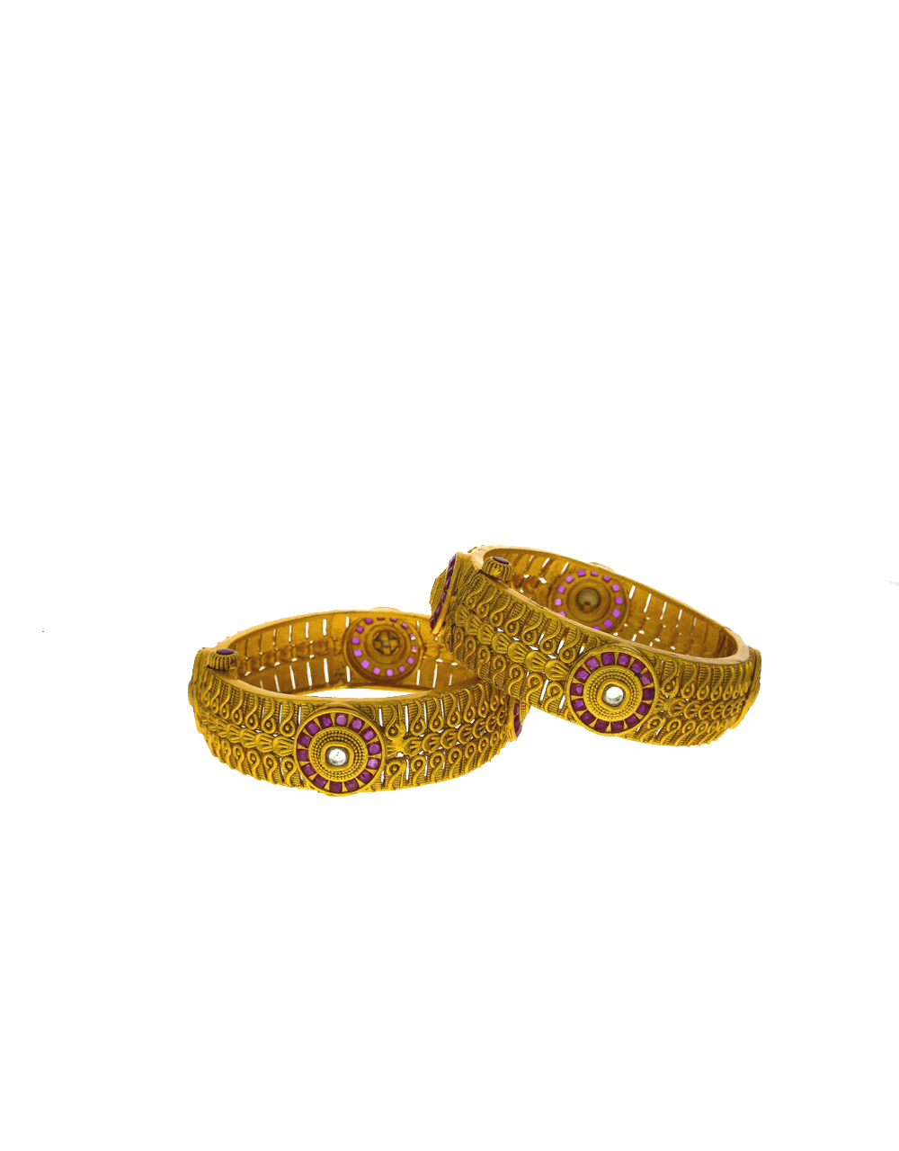 Ethnic designer bangles studded with pink stone  for women